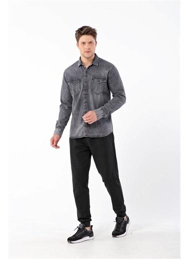 Gualtiero Manuele Giorgi Erkek Cep Detaylı Denim Gömlek GU20MFW02012 Gri